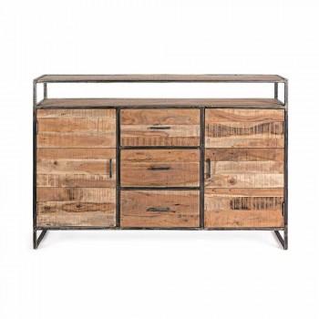 Aparador moderno con estructura en madera de acacia y acero Homemotion - Posta