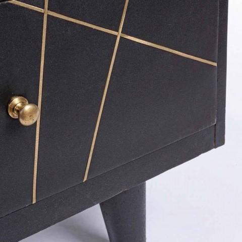Aparador moderno con estructura de madera de mango y detalles de latón - Anira