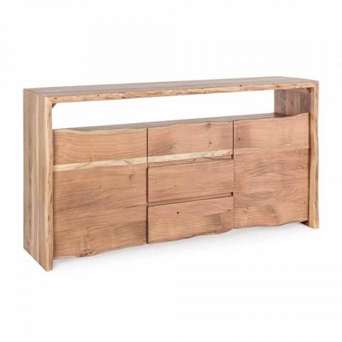 Aparador moderno en madera de acacia con 2 puertas y 3 cajones Homemotion - Lauro