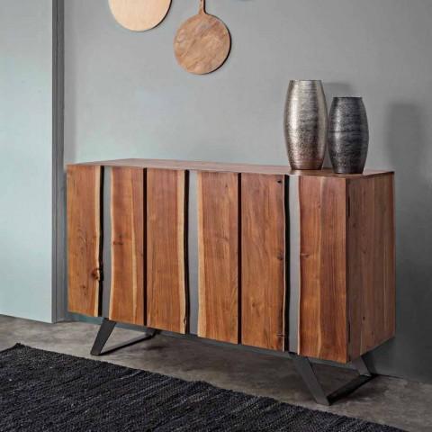 Aparador moderno en madera de acacia con inserciones metálicas Homemotion - Sonia