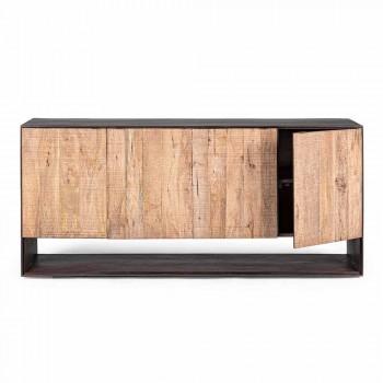 Aparador moderno en madera de mango con tiradores de acero Homemotion - Amilcare