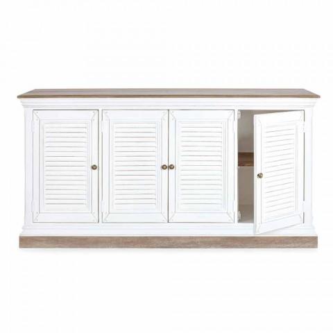 Aparador de estilo clásico en madera de mango con 4 puertas y pomos de hierro fundido - Baffy