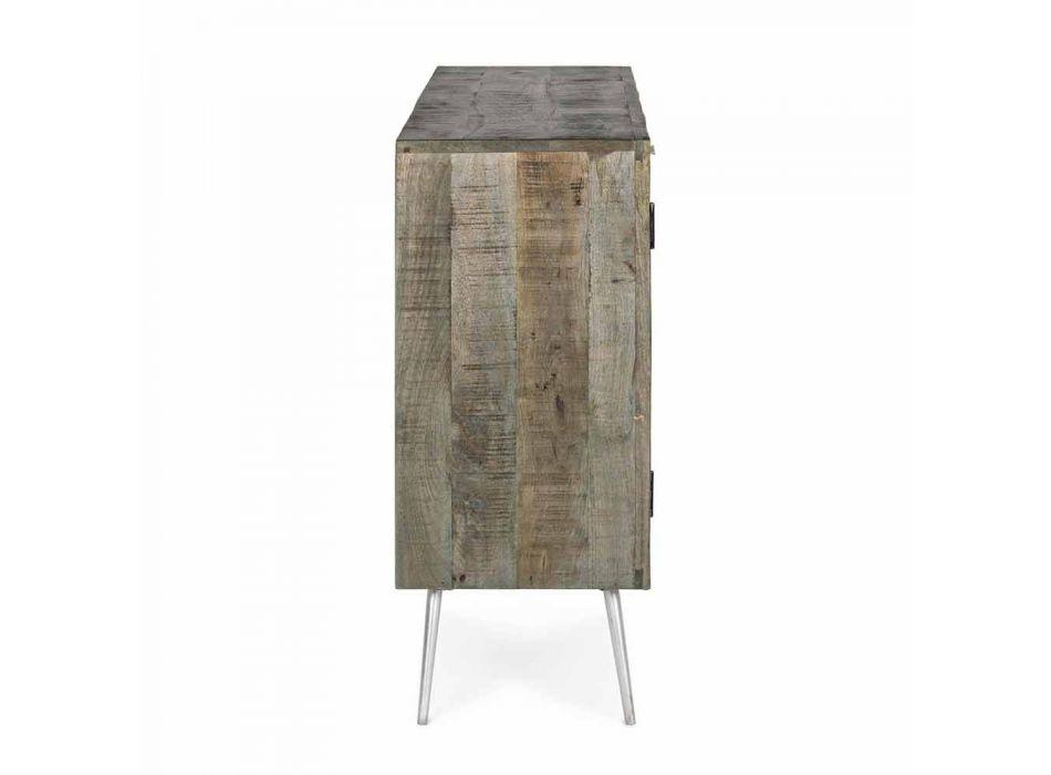 Aparador de estilo vintage con estructura de madera y detalles en acero - Adiva