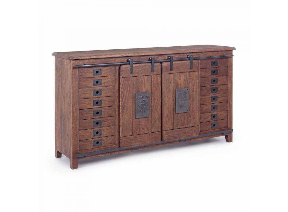 Aparador estilo vintage en madera y MDF con inserciones de acero Homemotion - Pablo