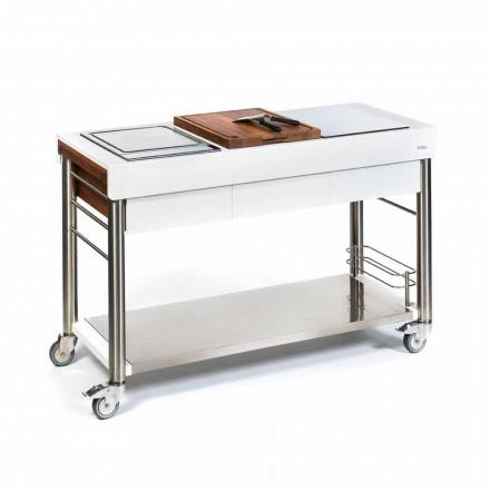 Cocina exterior sobre ruedas de diseño, alta calidad en madera y acero - Calliope