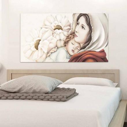 Pintura moderna madre con el niño en la decoración de hojas de oro de Scott