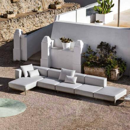Sofá de exterior 3 plazas en aluminio con puf y chaise longue - Filomena