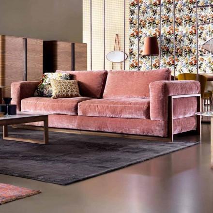 Sofá 3 plazas tapizado de diseño Grilli York hecho en Italia