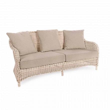 Sofá de jardín de 3 plazas en fibra tejida de diseño Homemotion - Casimiro