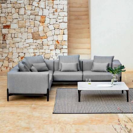Sofá esquinero de 5 plazas para exterior en aluminio 3 acabados, lujo - Filomena