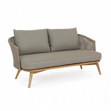 Sofá de exterior de 2 o 3 asientos en madera y tela de color gris paloma Homemotion - Luana