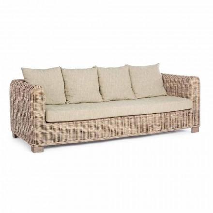 Homemotion - Sofá de exterior de diseño Ceara de 3 plazas en madera y ratán