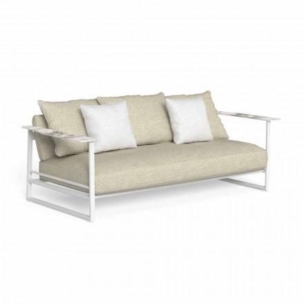 Sofá de exterior en aluminio, tela y reposabrazos en Gres - Riviera by Talenti