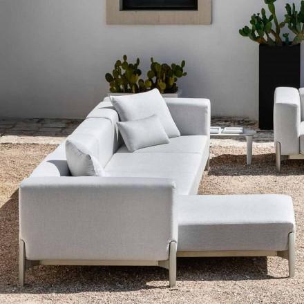 Sofá de jardín de 3 plazas con chaise longue de aluminio y tela - Filomena