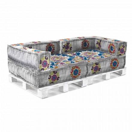 Sofá étnico acolchado de dos plazas en tela patchwork y madera - Fibra
