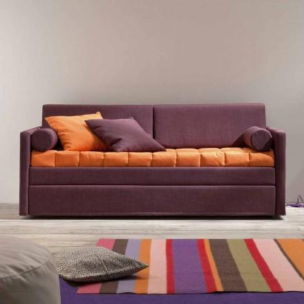 Sofá litera de diseño tapizado en tejido Made in Italy - Gretel