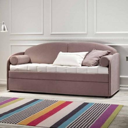 Sofá cama litera moderno de tela marrón Made in Italy - Pont