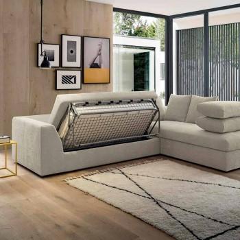 Sofá cama esquinero de diseño en tela beige Made in Italy - Ortensia