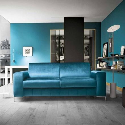 Sofá cama de tela color petróleo con base cromada Made in Italy - Ranuncolo