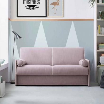 Sofá cama en tela rosa pálido con borde blanco Made in Italy - Poppy