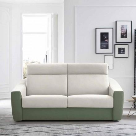 Sofá cama moderno tapizado en tela bicolor Made in Italy - Begonia