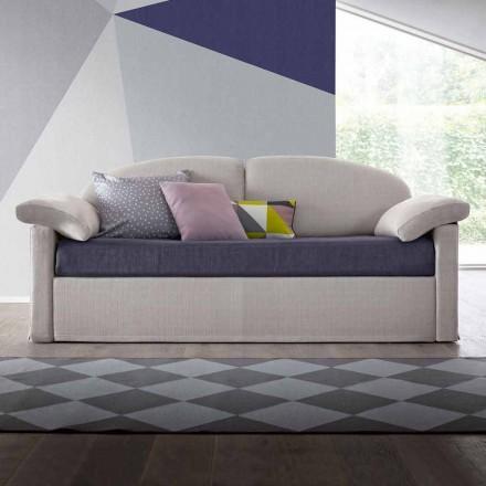 Sofá cama individual con contenedor cubierto de tela Made in Italy - Kayla