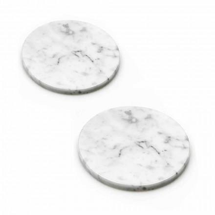 Dos posavasos en mármol blanco y gris con corcho Made in Italy - Jessa