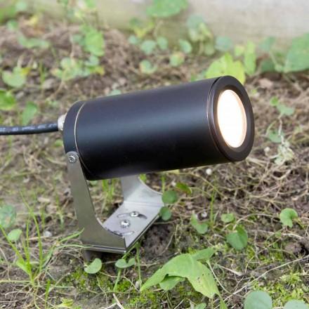 Foco de jardín en aluminio anodizado negro con LED Made in Italy - Forla