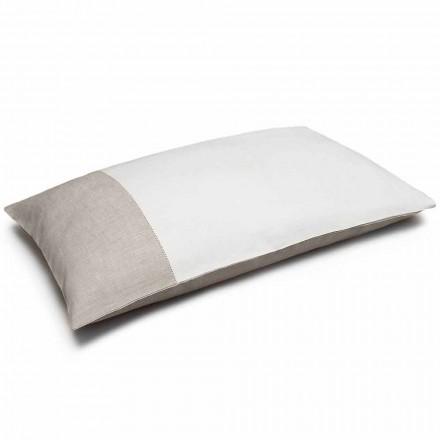 Funda de almohada de lino bicolor blanco y natural Made in Italy - Chiana