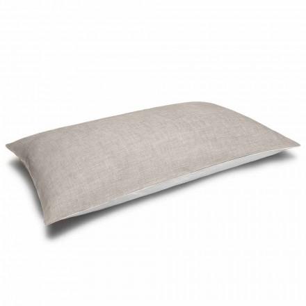 Funda de almohada de lino bicolor crema y natural Made in Italy - Blessy