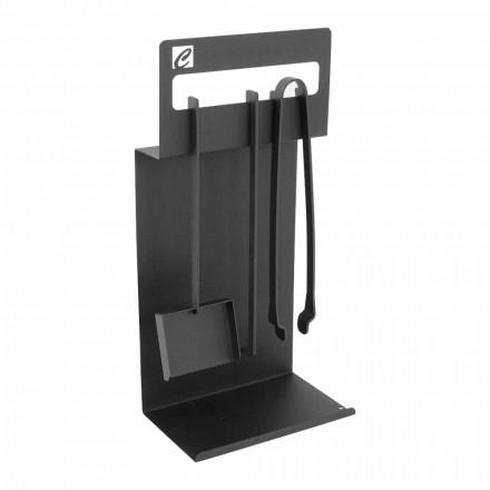 Conjunto de herramientas de diseño para chimenea en acero negro Made in Italy - Ostro