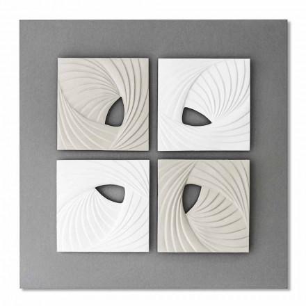 Instalación de pared decorativa de diseño moderno en blanco y gris - Bossy