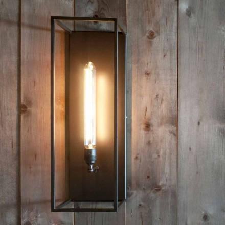 Lámpara de pared artesanal con estructura de hierro negro Made in Italy - Brina