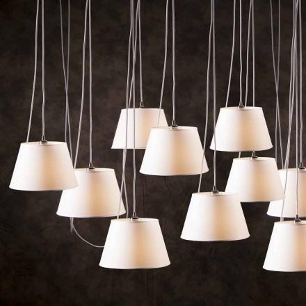 Lámpara de techo moderna de 12 luces y pantalla blanca Chrome