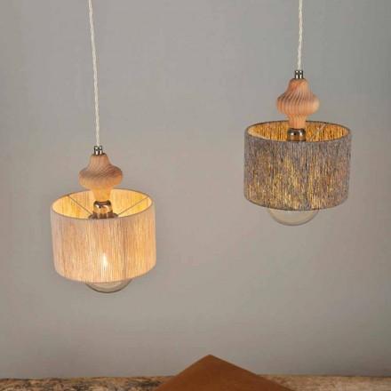 Lámpara de techo con 2 luces y detalle de madera modelo Bois