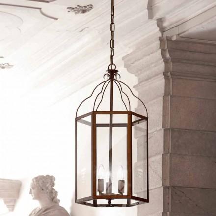 Lámpara de suspensión con 3 luces de latón y cristal Turandot