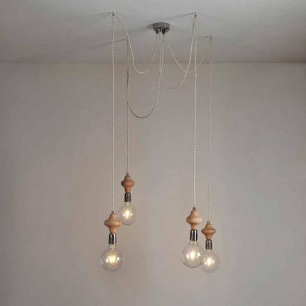 Lámpara de techo moderna con detalle de madera 4 luces Bois