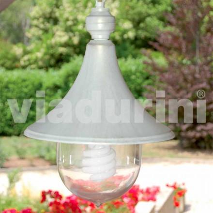 Lámpara colgante de exterior fabricada en aluminio blanco, fabricado en Italia, Anusca
