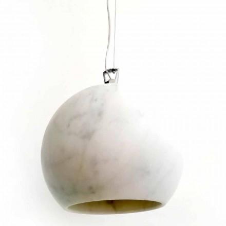 Lámpara de suspensión de diseño en mármol blanco de Carrara Made in Italy - Panda
