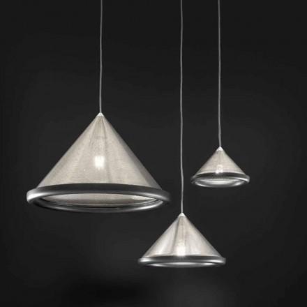 Lámpara de suspensión en acero inoxidable y cerámica - Tamiso Aldo Bernardi
