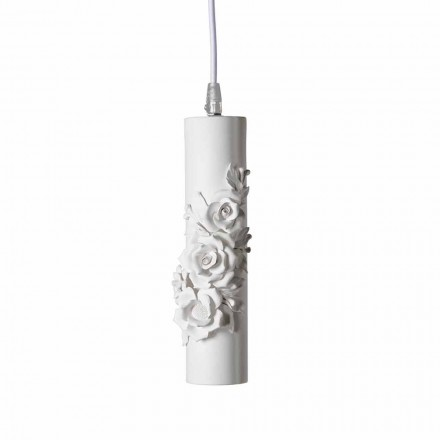 Lámpara de suspensión de cerámica blanca mate con flores decorativas - Revolution
