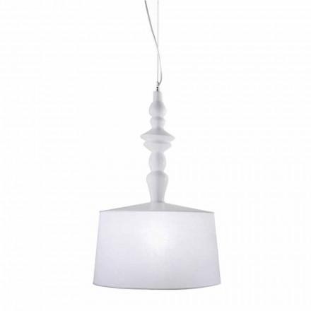 Lámpara de suspensión en cerámica blanca. Pantalla en Lino Diseño Corto - Cadabra