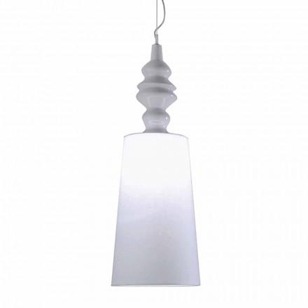 Lámpara de suspensión con pantalla de cerámica blanca en lino de diseño largo - Cadabra