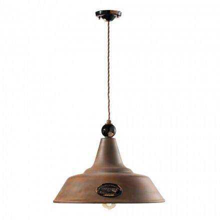 Lámpara de suspensión de hierro corten y cerámica Lois Ferroluce