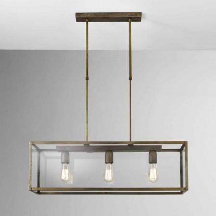 Lámpara de suspensión de hierro y cristal London Il Fanale