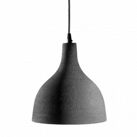 Lámpara de suspensión en gres antracita y diseño interior esmaltado blanco - Edmondo