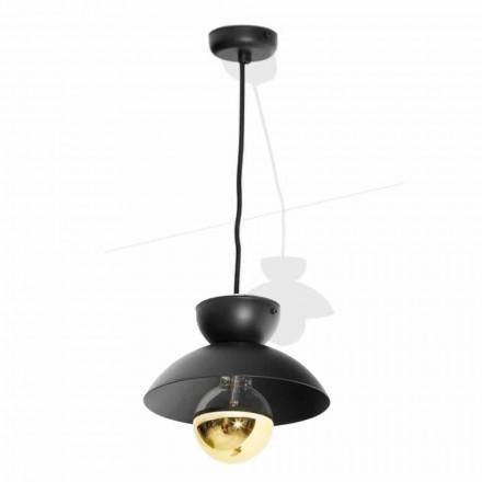 Lámpara de suspensión de metal con moderno detalle dorado Made in Italy - Valta