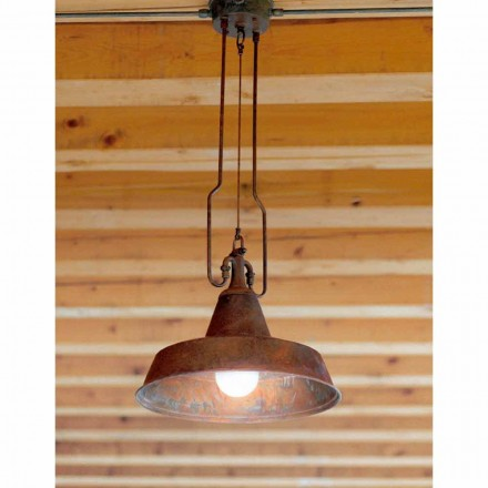 Lámpara de suspensión de cobre y latón envejecidos Fonderia