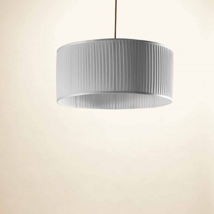 Lámpara de techo realizada en seda color gris modelo Bamboo
