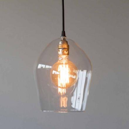 Lámpara de suspensión en vidrio y hierro con cable de algodón Made in Italy - Bisma